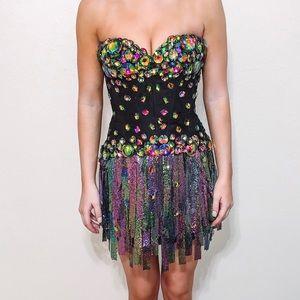 Sherri Hill Multi Color Fringe Dress